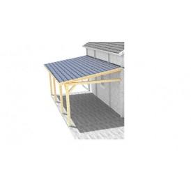 en carport/altan som ligger direkt an mot husets